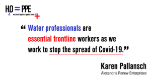 Our water professionals are essential frontline workers as we work to stop the spread of Covid-19
